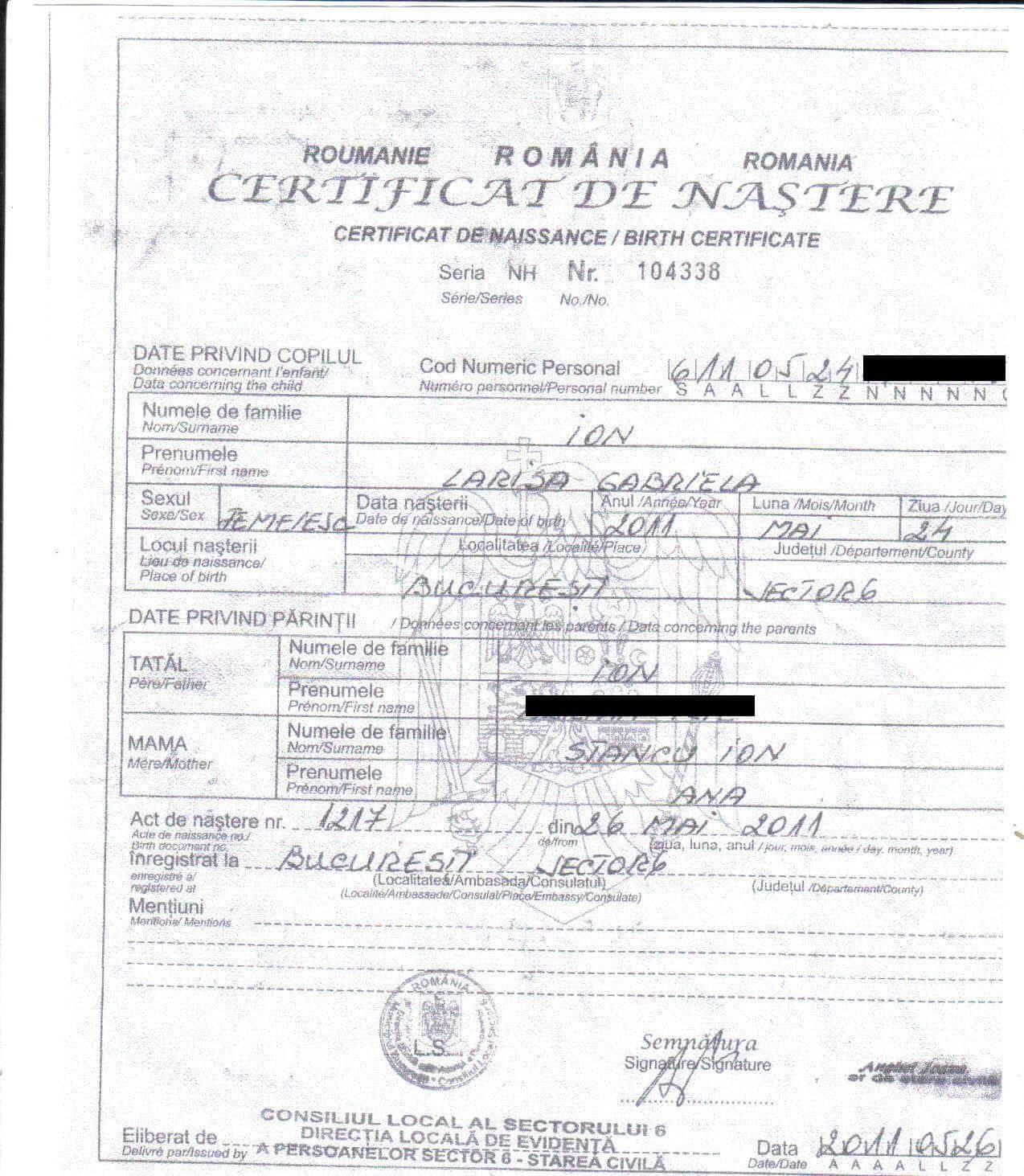 Certificat nastere for Certificat de precompte