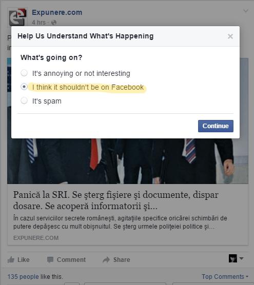 Cum raportezi o stire falsa pe facebook. Si de ce